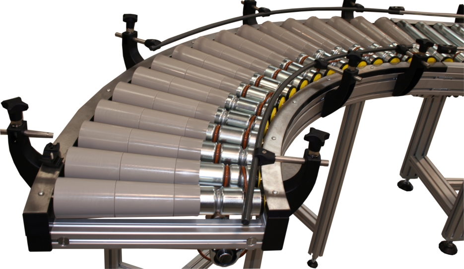 Roller conveyors curved elements