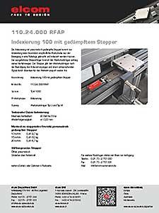 Indexierung 100 mit pneumatisch gedämpftem Stopper